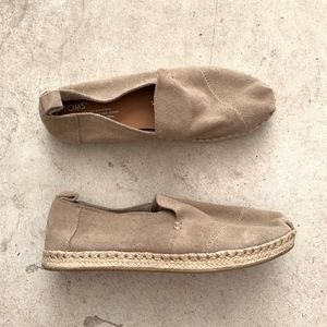 TOMS Slip-on Leather Espadrille Flats Loafers